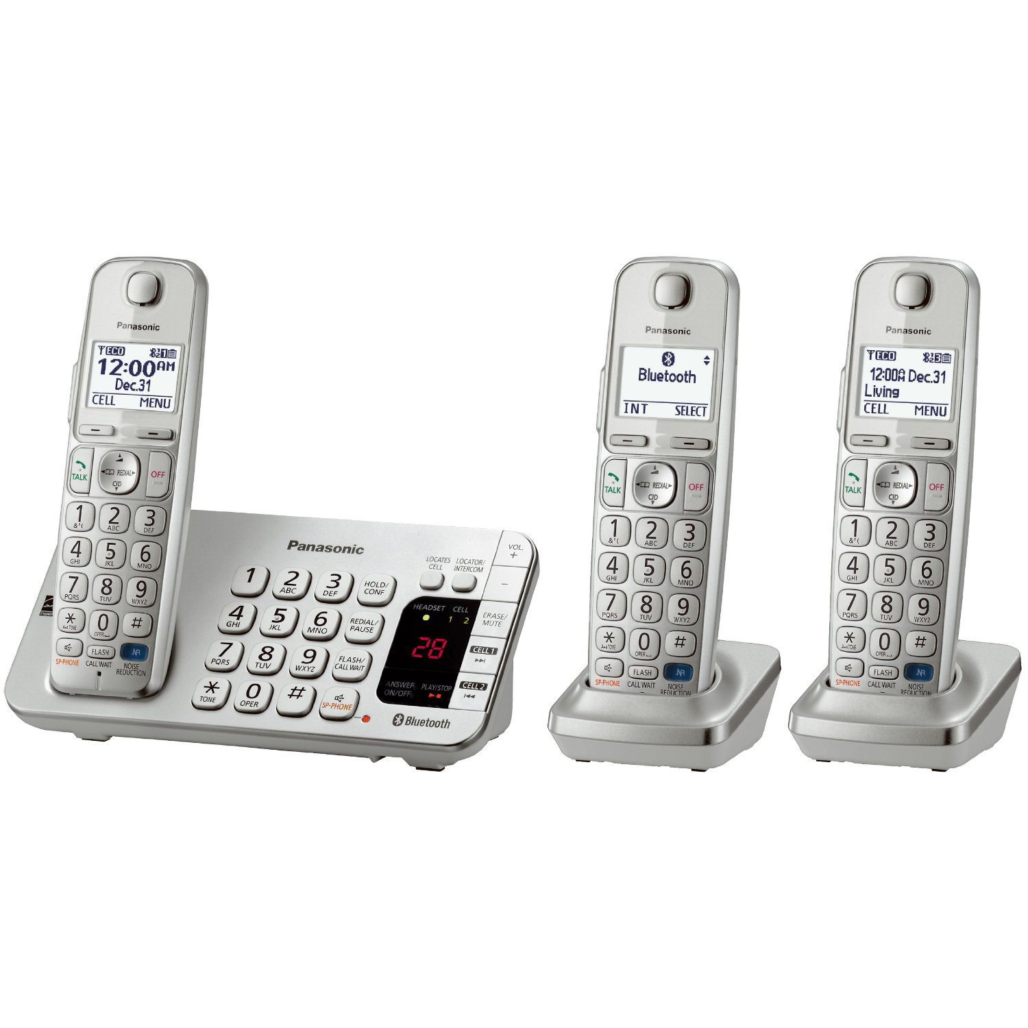 Panasonic Silver Link2Cell™ Bluetooth®-Enabled Phone with Answering Machine and 3 Cordless Handsets PartNumber: 00355385000P KsnValue: 8025569 MfgPartNumber: KX-TGE273S