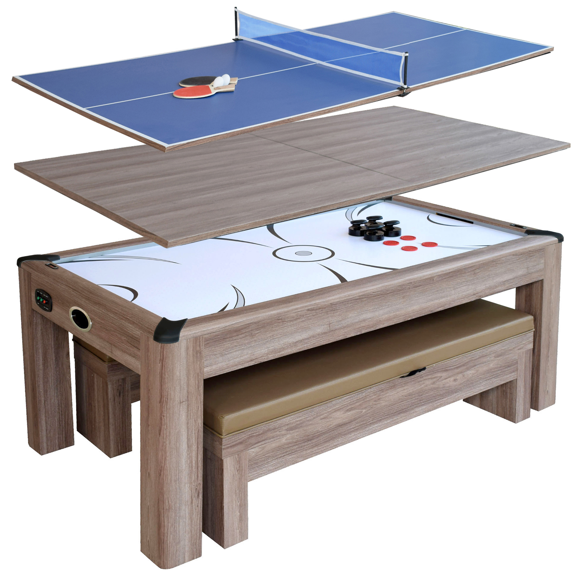 Hathawayu0026#153; Driftwood 7 Ft Air Hockey Table Combo Set W/Benches