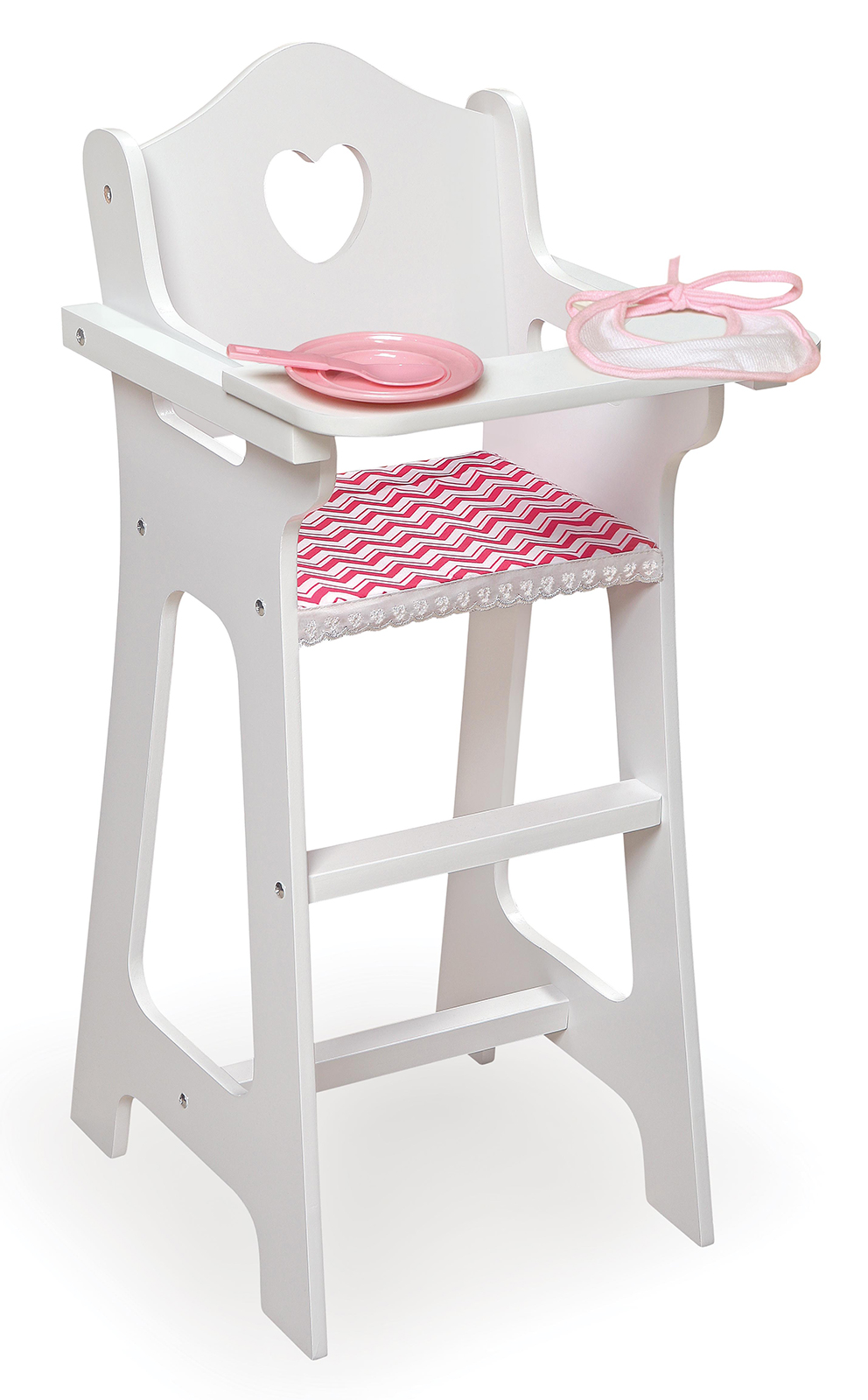 Badger Basket Doll High Chair With Plate, Bib, And Spoon   Chevron
