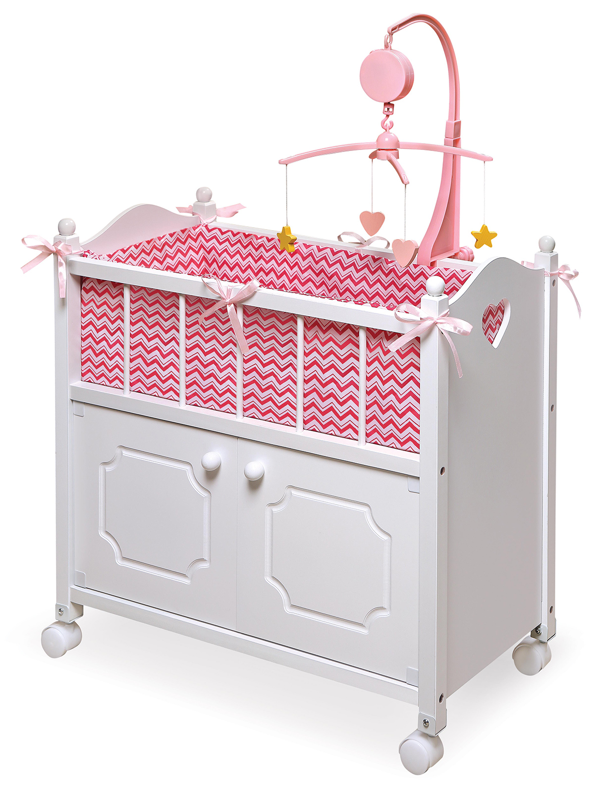 Doll Crib with Cabinet, Bedding, & Mobile - Chevron Print PartNumber: 05210979000P