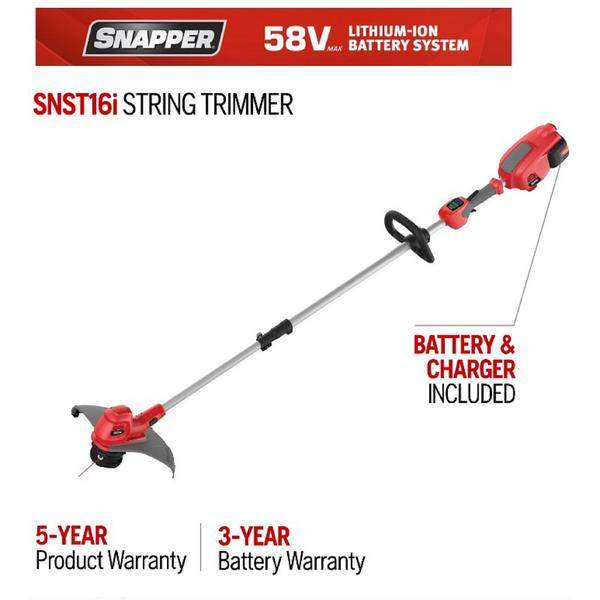 "Snapper 967922901 16"" 58-Volt Lithium-Ion Battery Straight Shaft String Trimmer"
