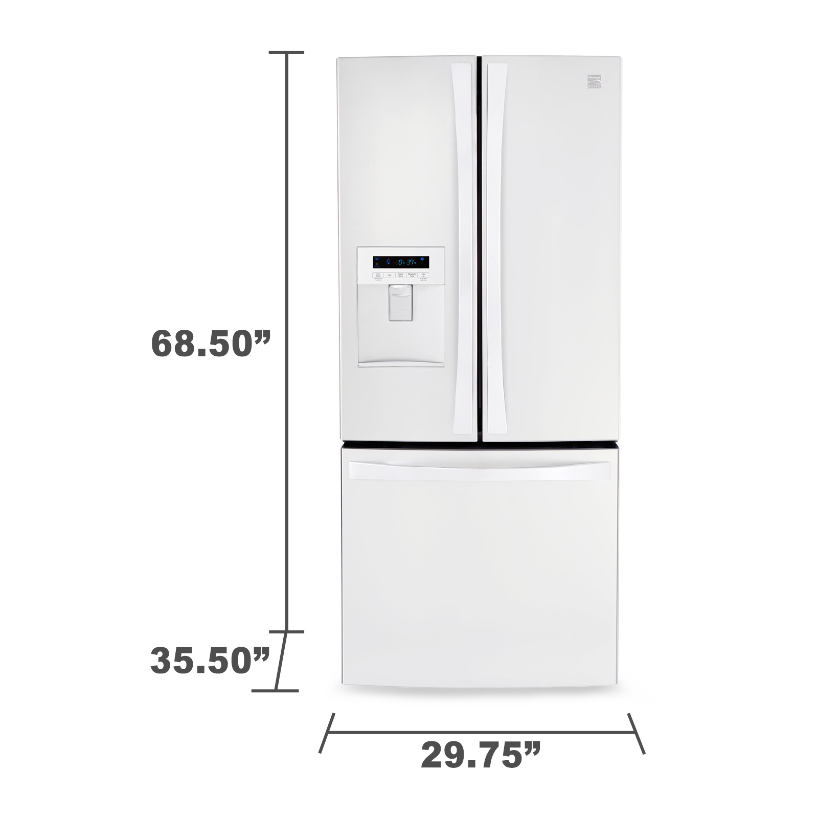French Door Bottom Freezer Refrigerator W Water Dispenser White