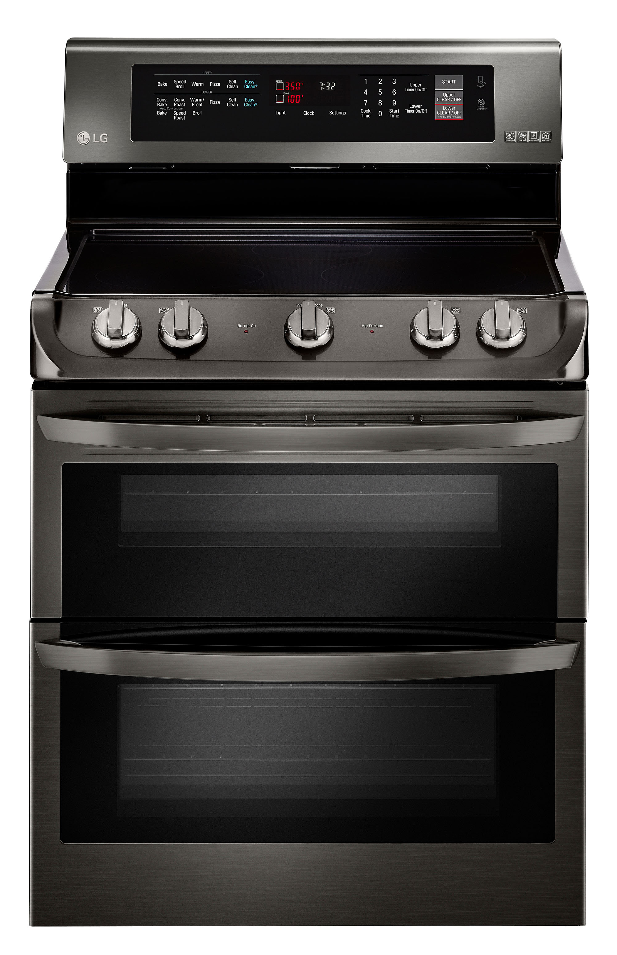 LG 7.3 Cu. Ft. Self-Cleaning Freestanding Double Oven Electric Convection Range Black Stainless Steel LDE4415BD