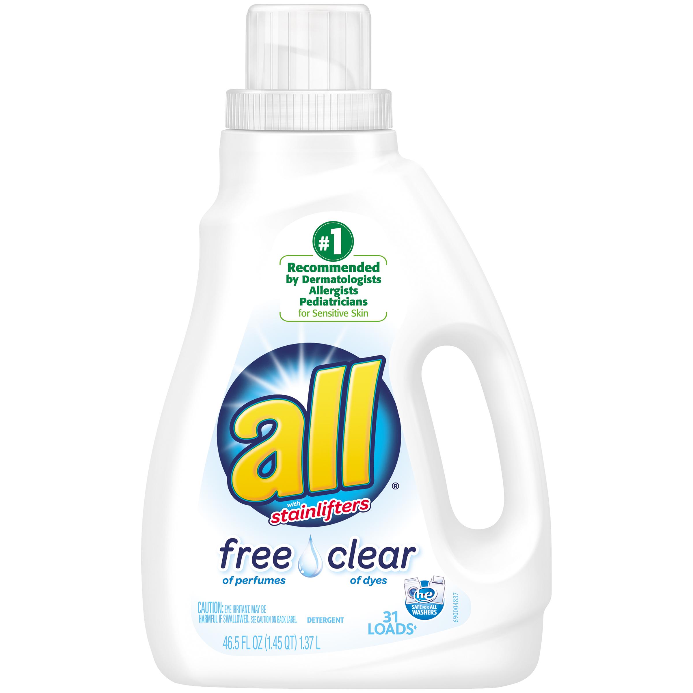Image of All Detergent, Free Clear, 46.5 fl oz (1.45 qt) 1.37 lt