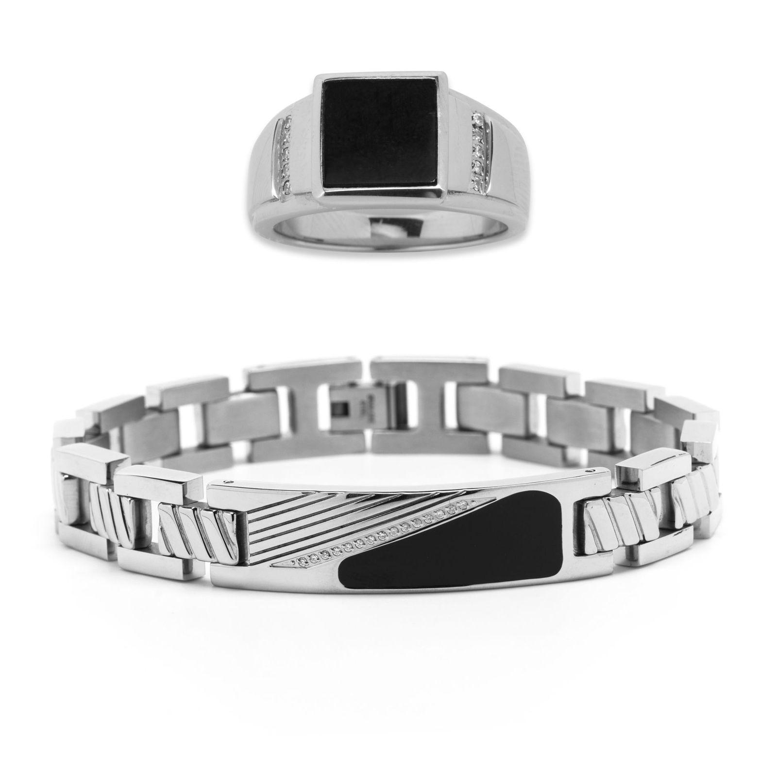 Men's Stainless Steel Bracelet and Ring Set