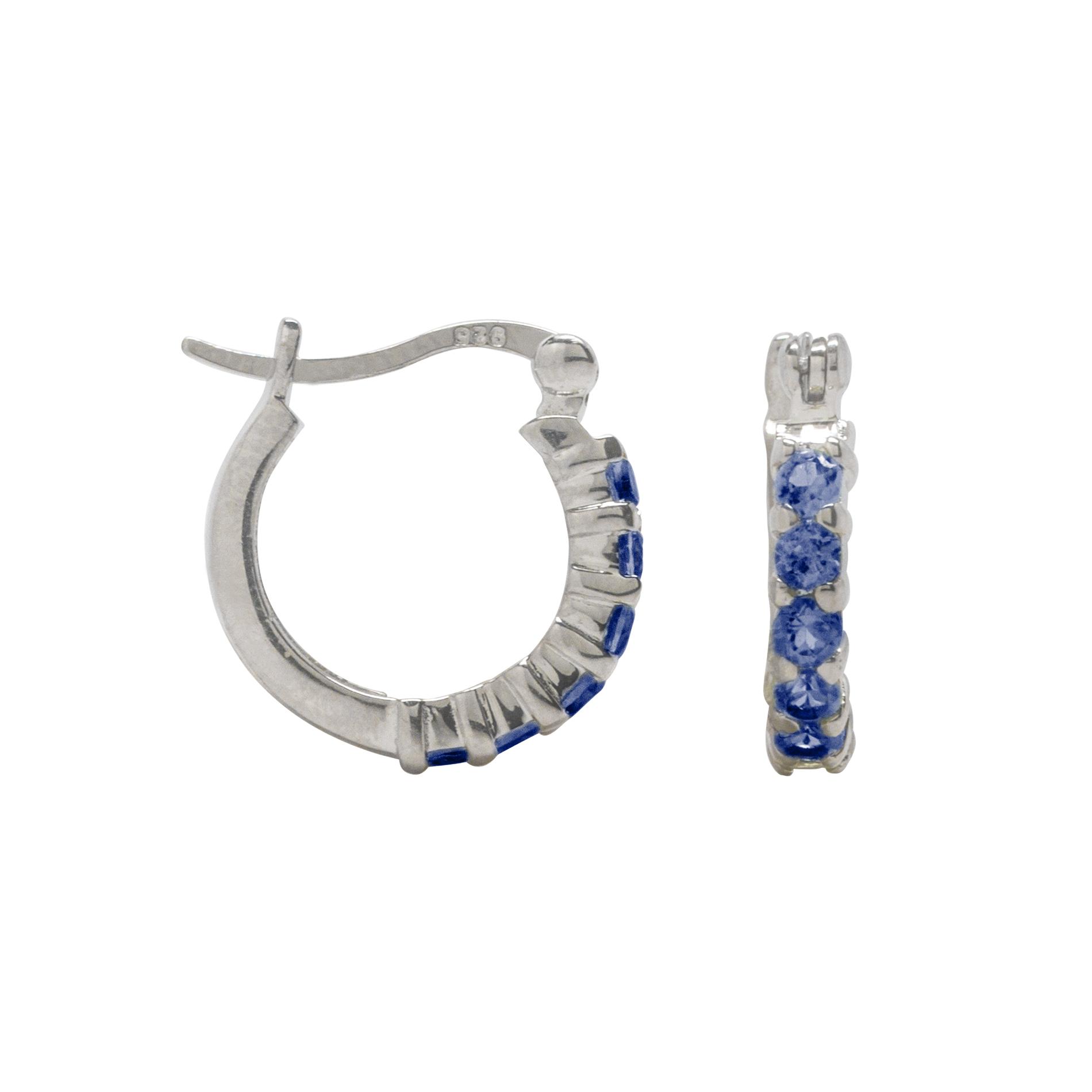 2.5mm Round Lab Created Blue Sapphire Hoop Earrings Sterling Silver