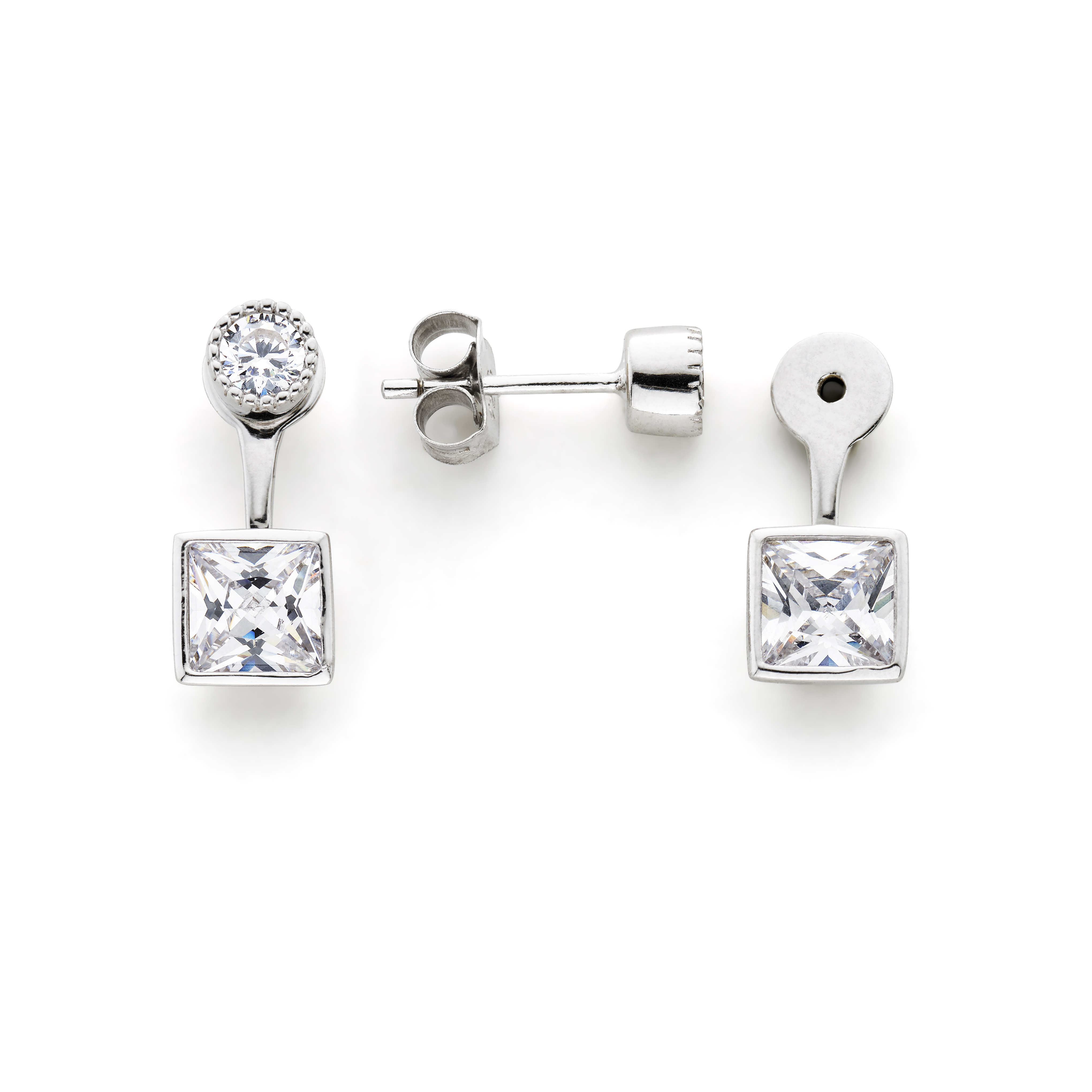 Cubic Zirconia Stud with Jacket Sterling Silver Plated Earrings