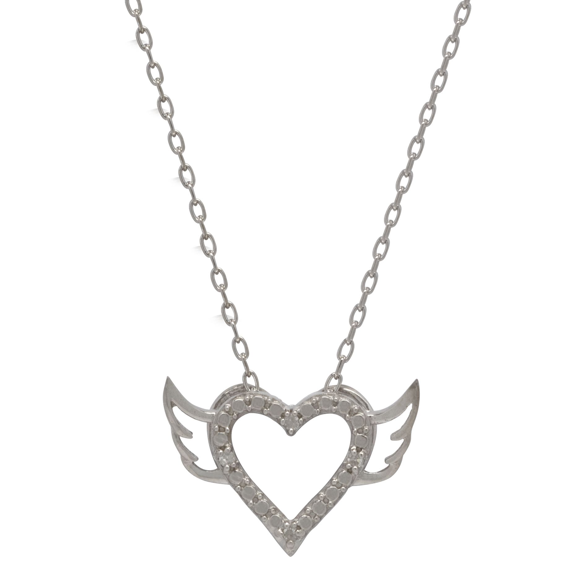Diamond Accent Heart with Wings Pendant Sterling