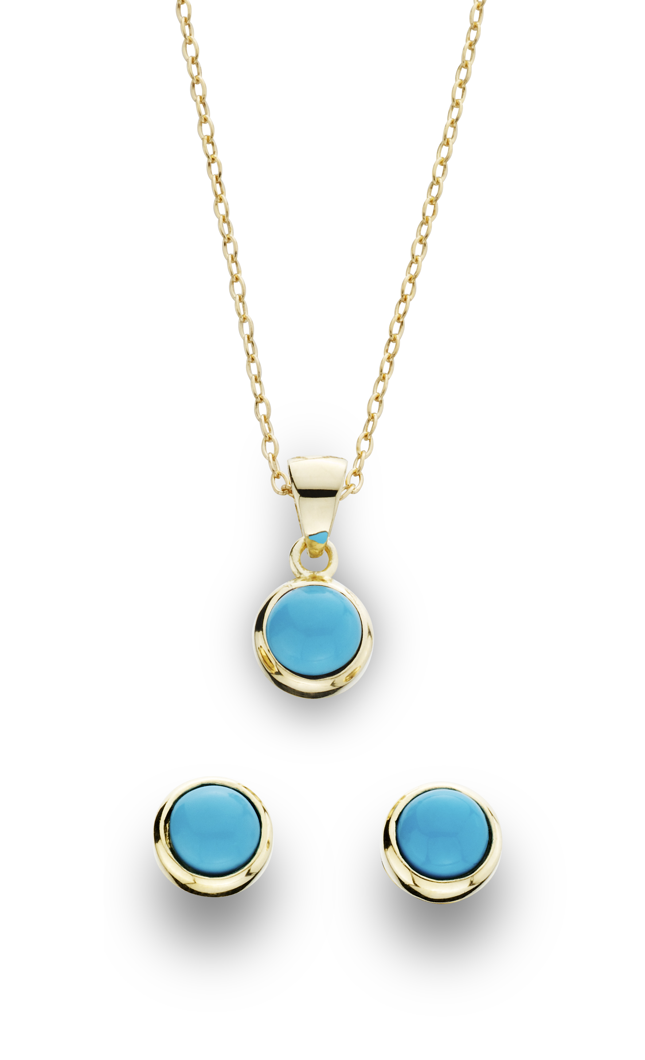 2 Piece Gold over Silver Turquoise Earring and Pendant Set, Blue