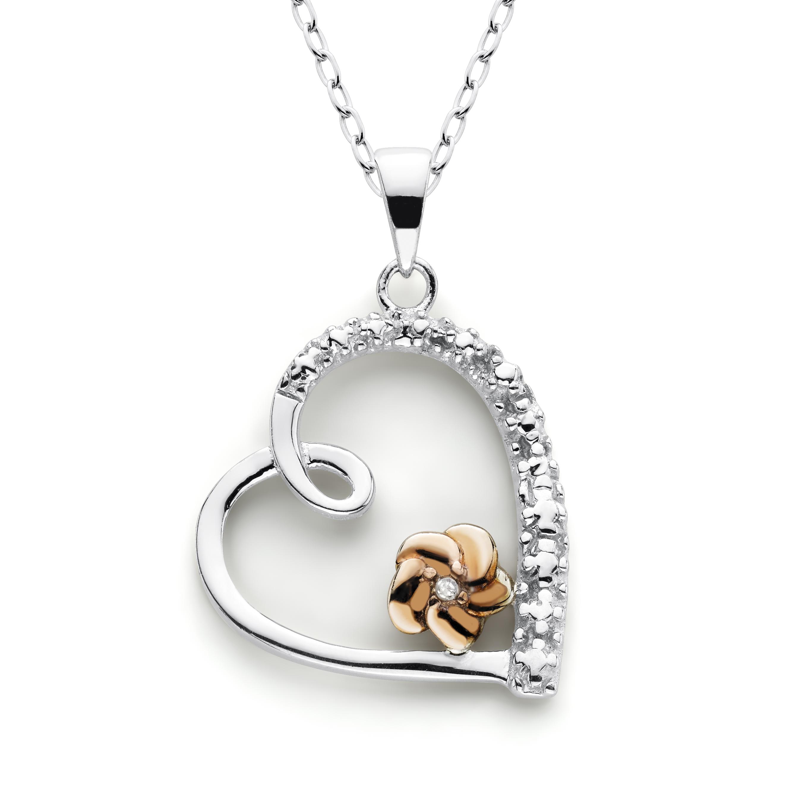 Sterling Silver 1/10Cttw Diamond Heart Flower Pendant