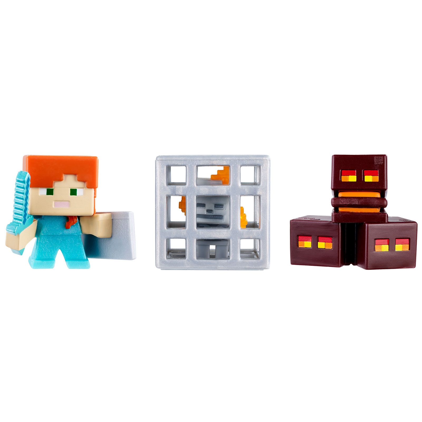 Mattel Skeleton in Cage Minecraft Mini Figure (3 Pack) - Magma Cubes Alex with Shield PartNumber: 004W008082280021P