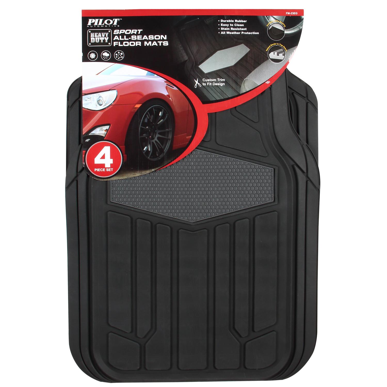 Pilot Automotive 4-Pc Gray and Black Sport Rubber Floor Mat Set im test