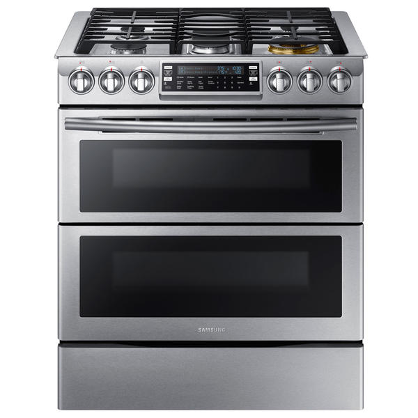 Samsung NX58K9850SS/AA  5.8 cu. ft. Slide-In Gas Range w/ Flex Duo – Stainless Steel