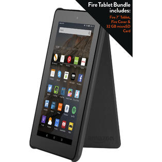 Amazon 7 inch Fire Tablet with Cover and 32GB Memory Card - Black