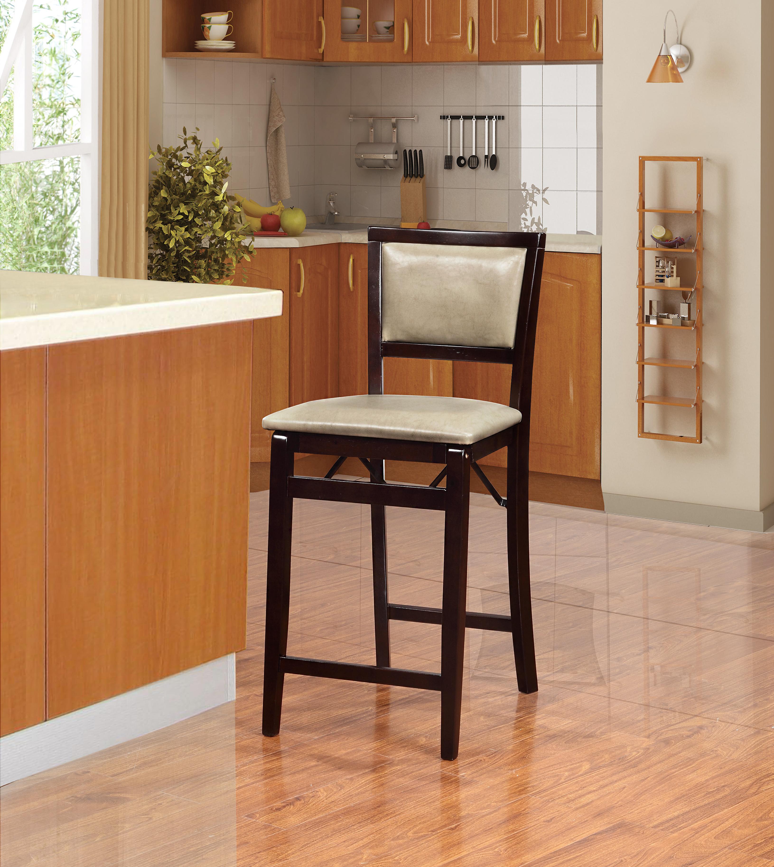 Linon Triena Jute Pad Back Folding Counter Stool Home