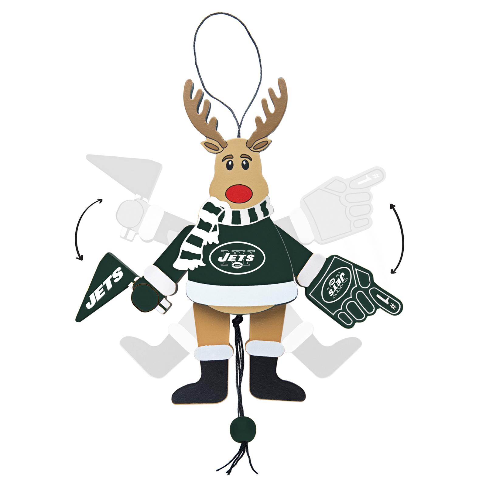 Topperscot NFL Wooden New York Jets Cheering Reindeer Ornament
