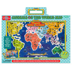 Wood puzzles kmart ts shure animals of the world map magnetic playboard and puzzle gumiabroncs Image collections