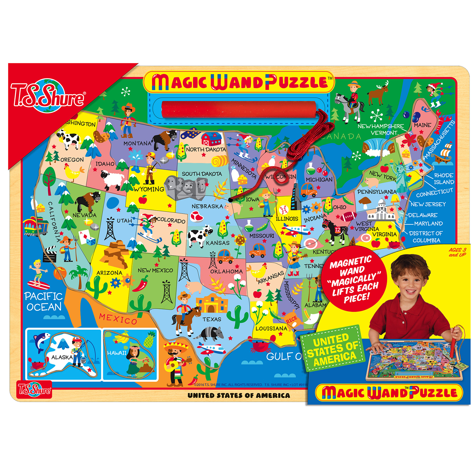 TS Shure Map of the USA Wooden Magnetic Magic Wand Puzzle PartNumber: 05233206000P KsnValue: 05233206000 MfgPartNumber: 195755