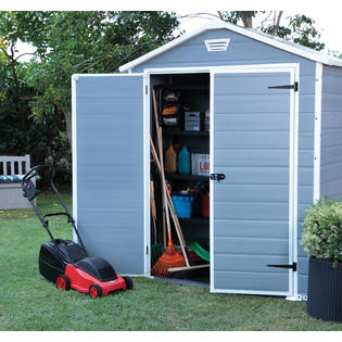 keter 214701 manor large 6 x 3 ft resin outdoor yard garden storage shed