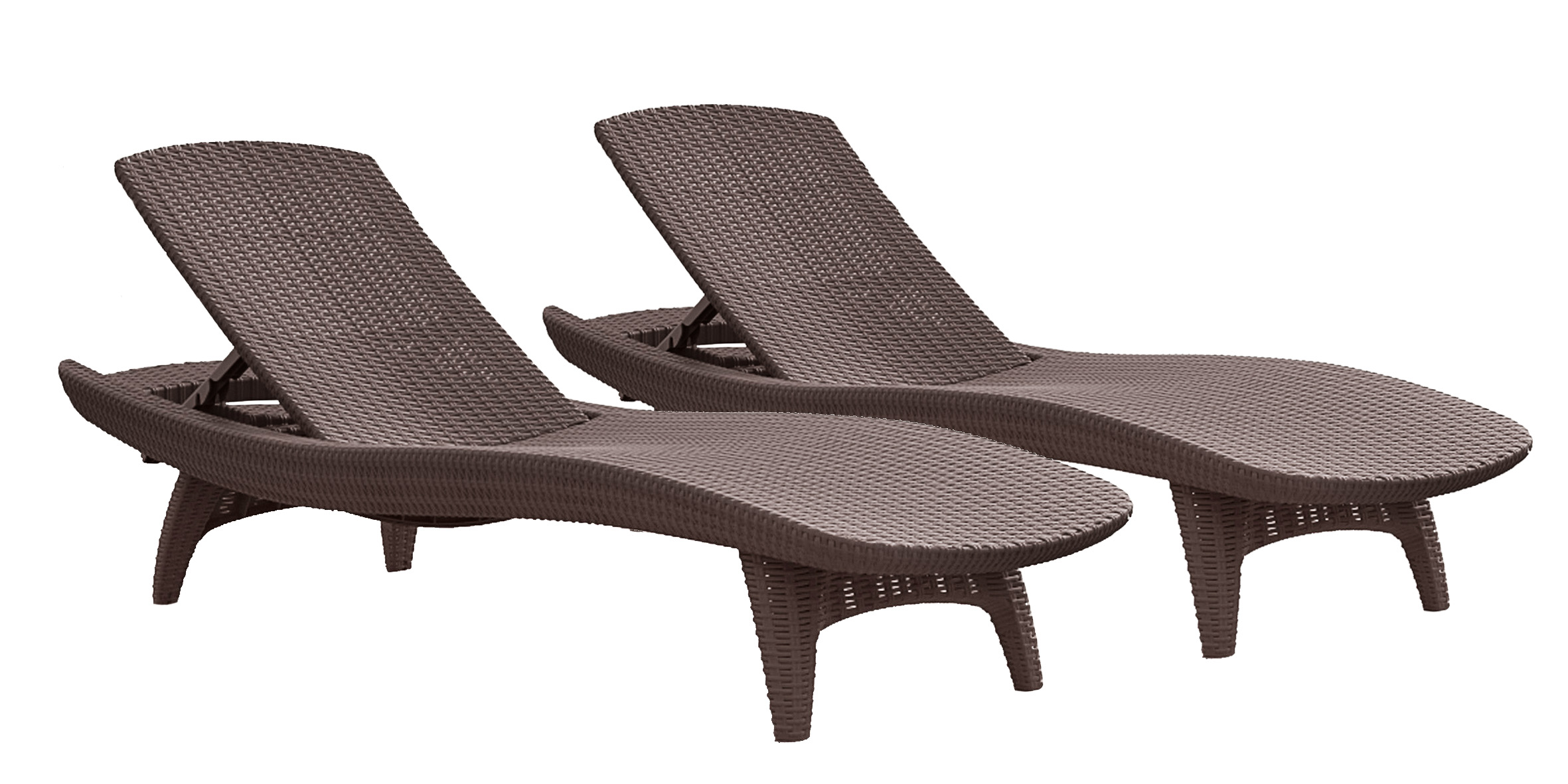 Keter 2-Pack All-weather Adjustable Outdoor Patio Chaise Lounge Furniture, Brown