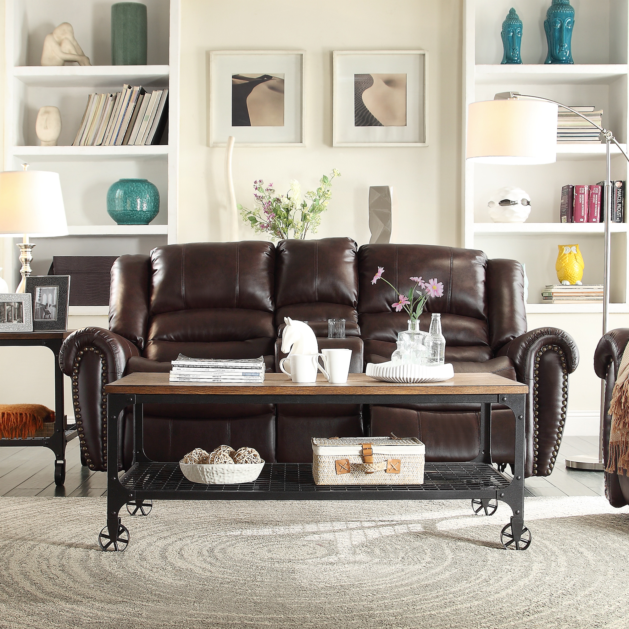 Oxford Creek Cambridge Nailhead Accent Reclining Loveseat With Center Console In Chocolate