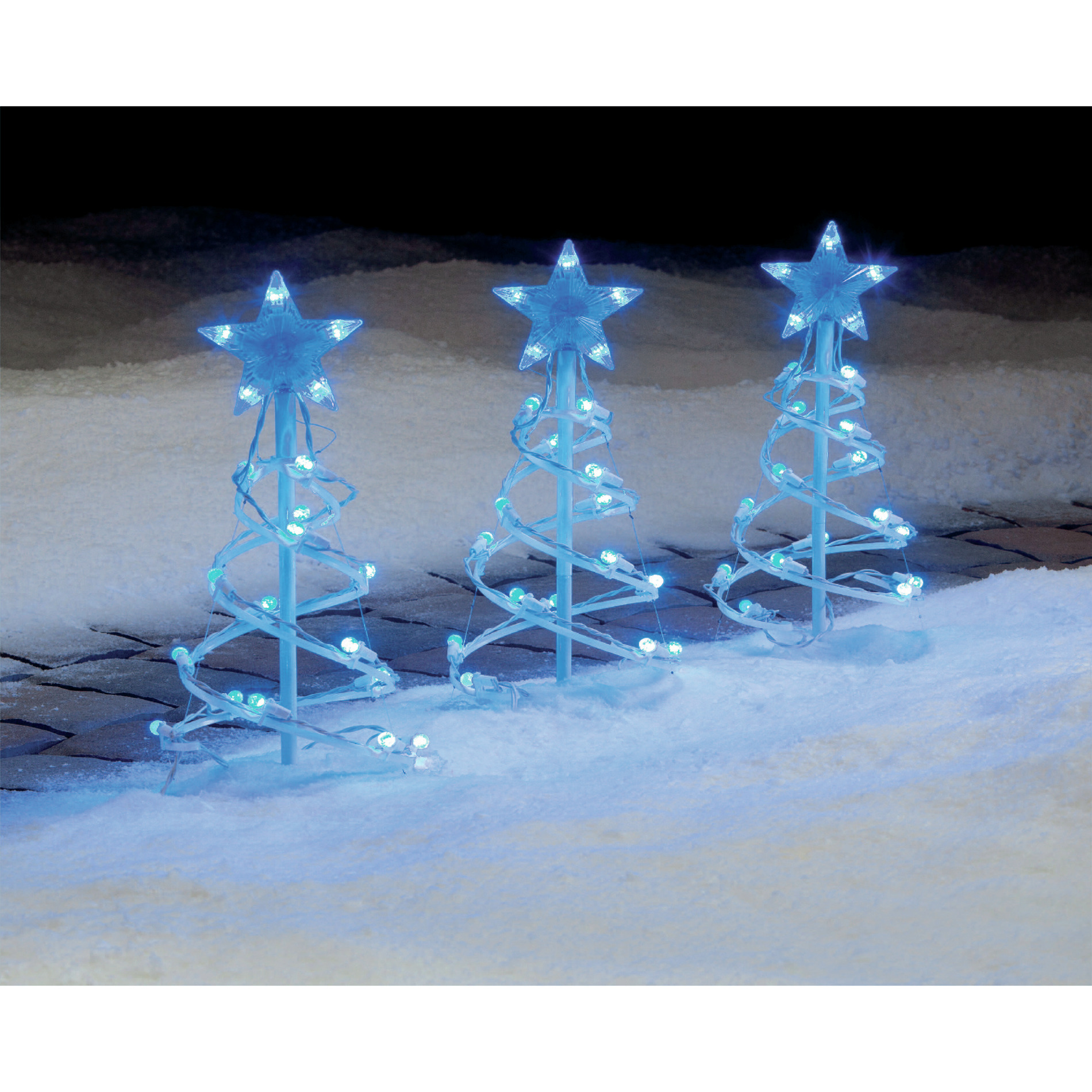 Trim A Home® Blue LED Globe Pathway Spiral Christmas Tree 18 In 3 Ct