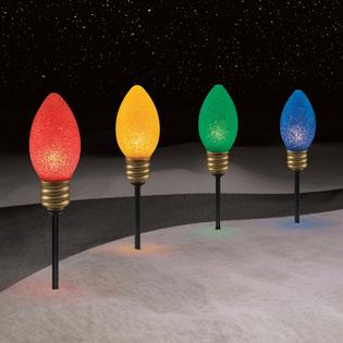trim a home trim a home 4 ct large bulb christmas pathway lights