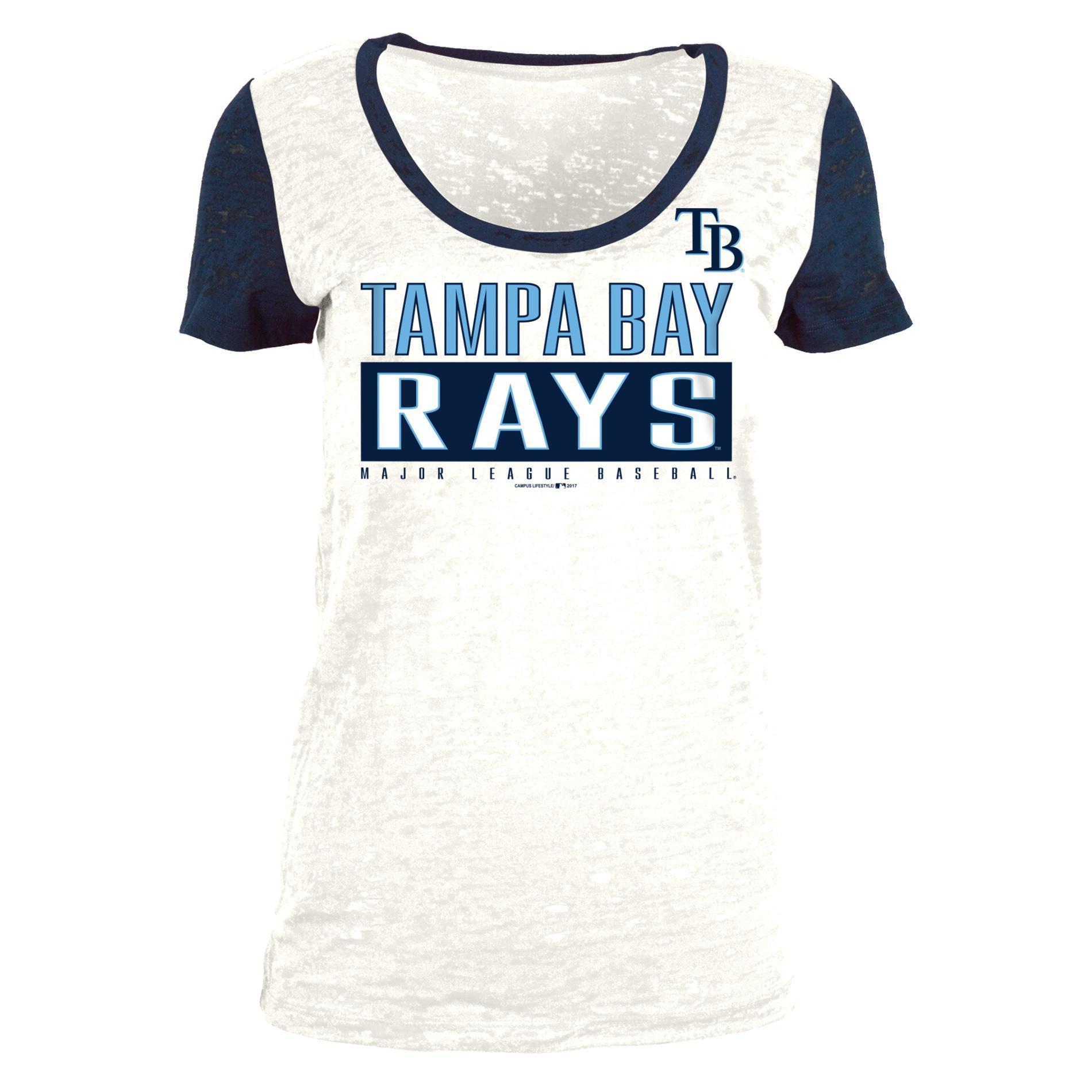 MLB Women's Burnout Graphic T-Shirt - Tampa Bay Rays PartNumber: 046VA95377412P MfgPartNumber: 7998LM2816448
