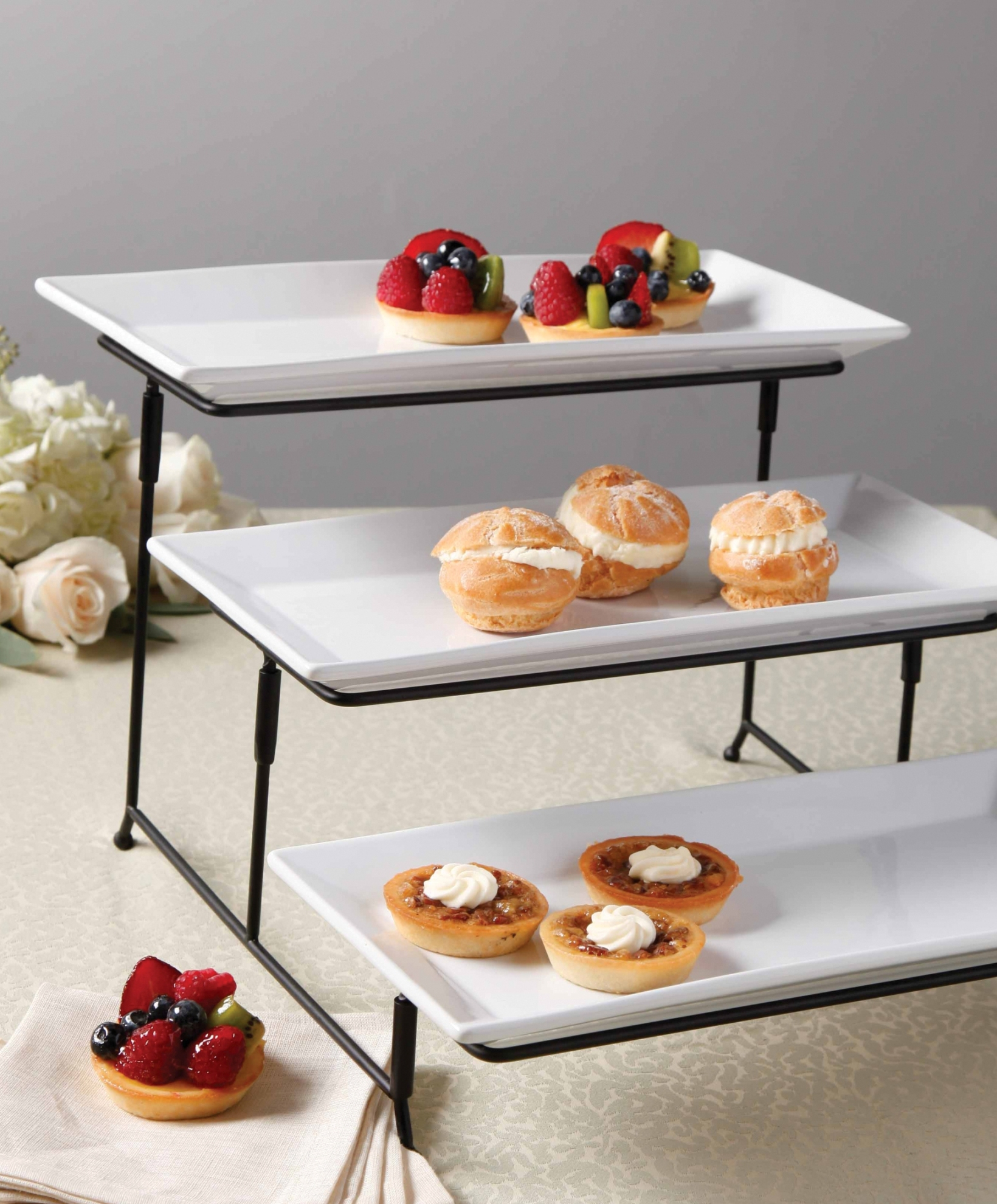 Gibson 3 Tier Plate Set With Metal Stand Home Dining