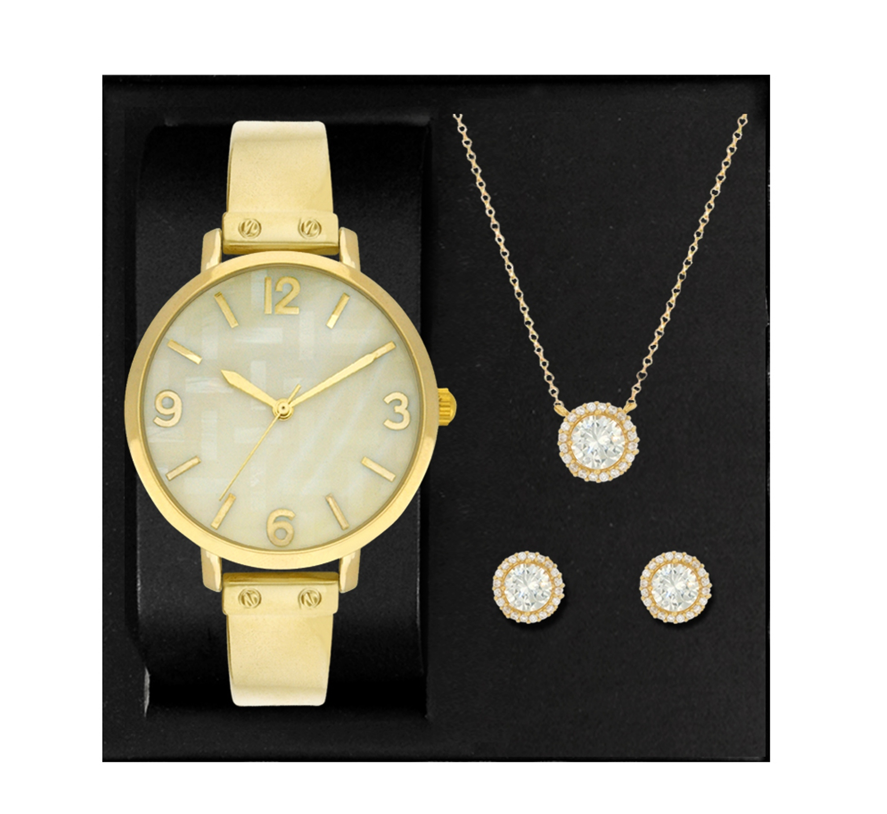 3 pc. Women's Gold-Tone Watch and Jewelry Set