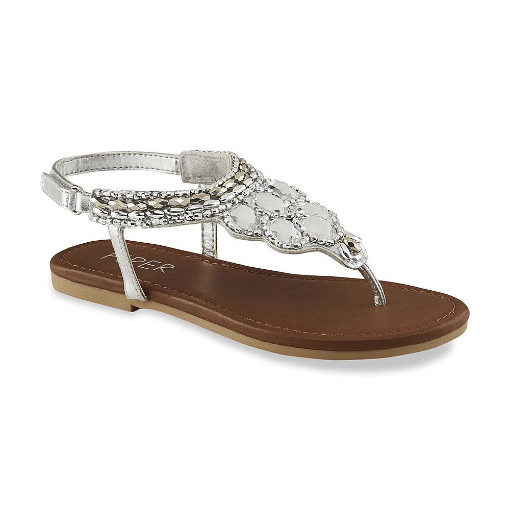 Piper & Blue Girl's Anna Silver Embellished Flat T-Strap Sandal