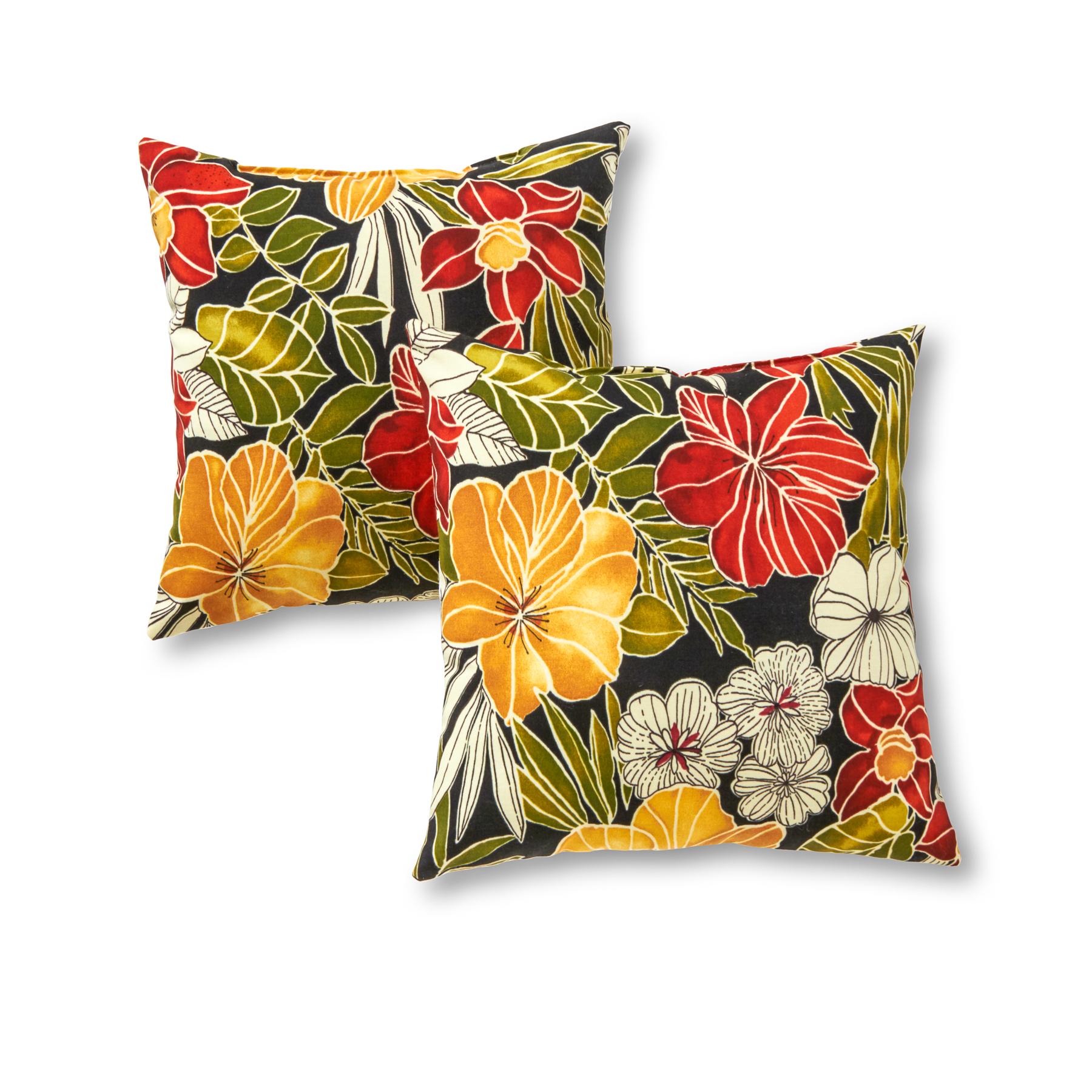 Outdoor Patio Throw Pillows, Set of Two, Aloha Black