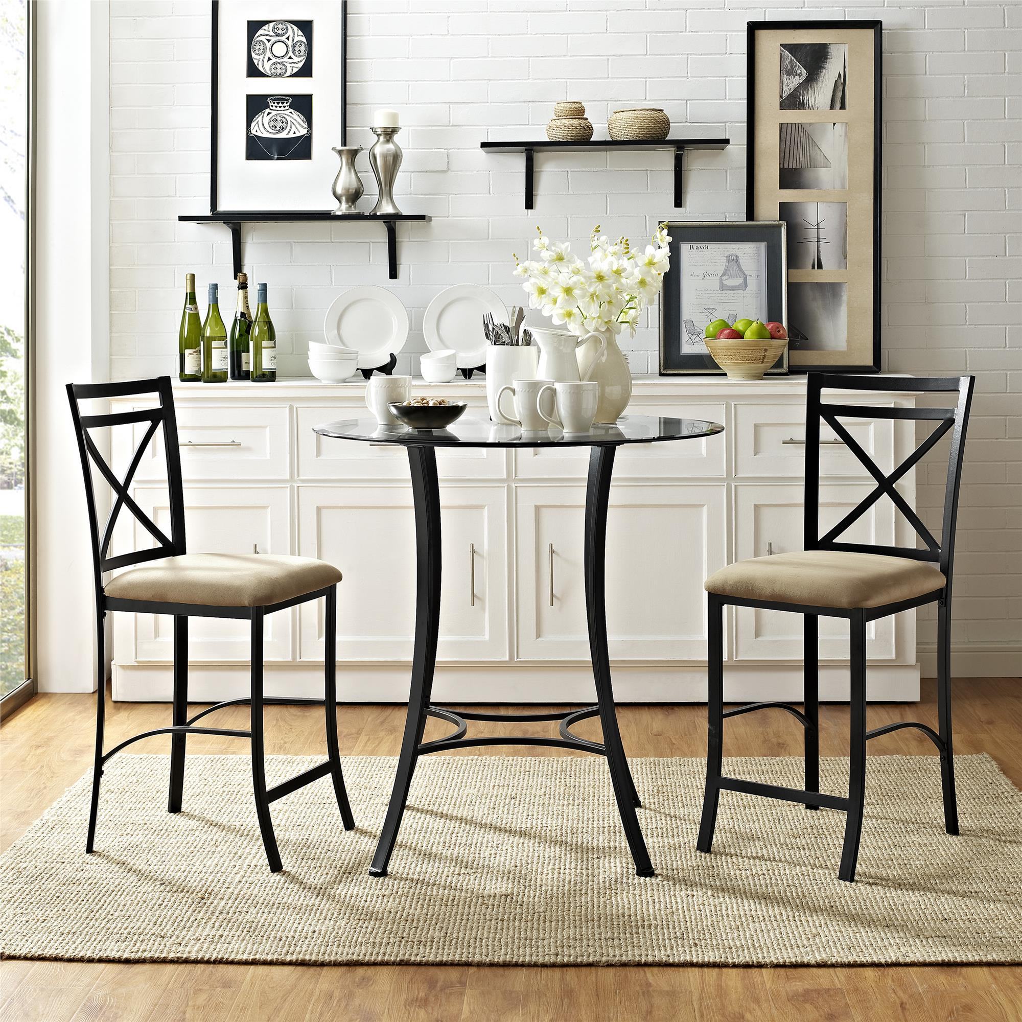 Dorel Valerie 3 Pc Counter Height Gl And Metal Dining Set