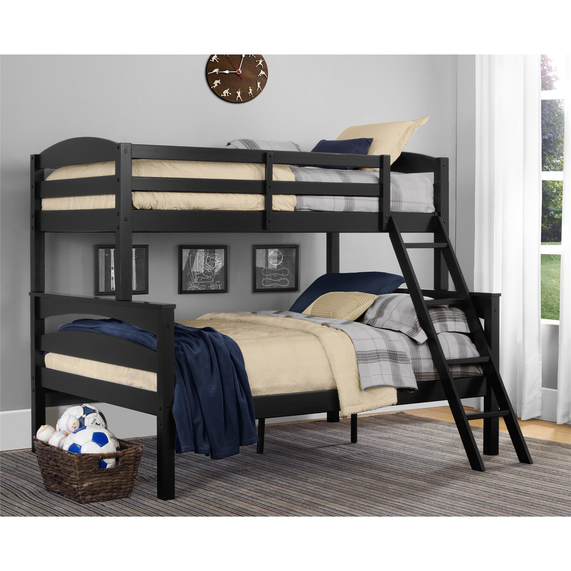 Dorel Home Furnishings Brady Black Twin Over Full Bunk Bed Home