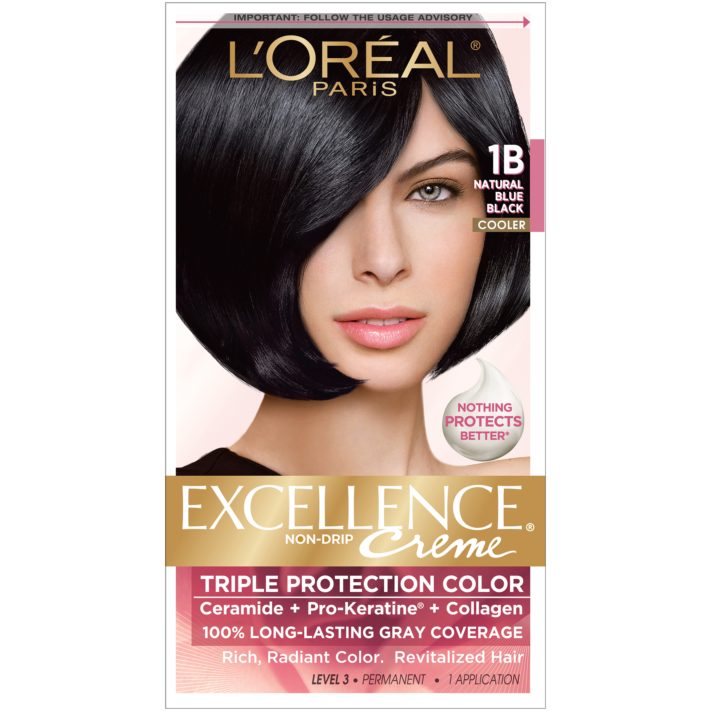 box hair color l oreal protection 1b cooler blue black 31297