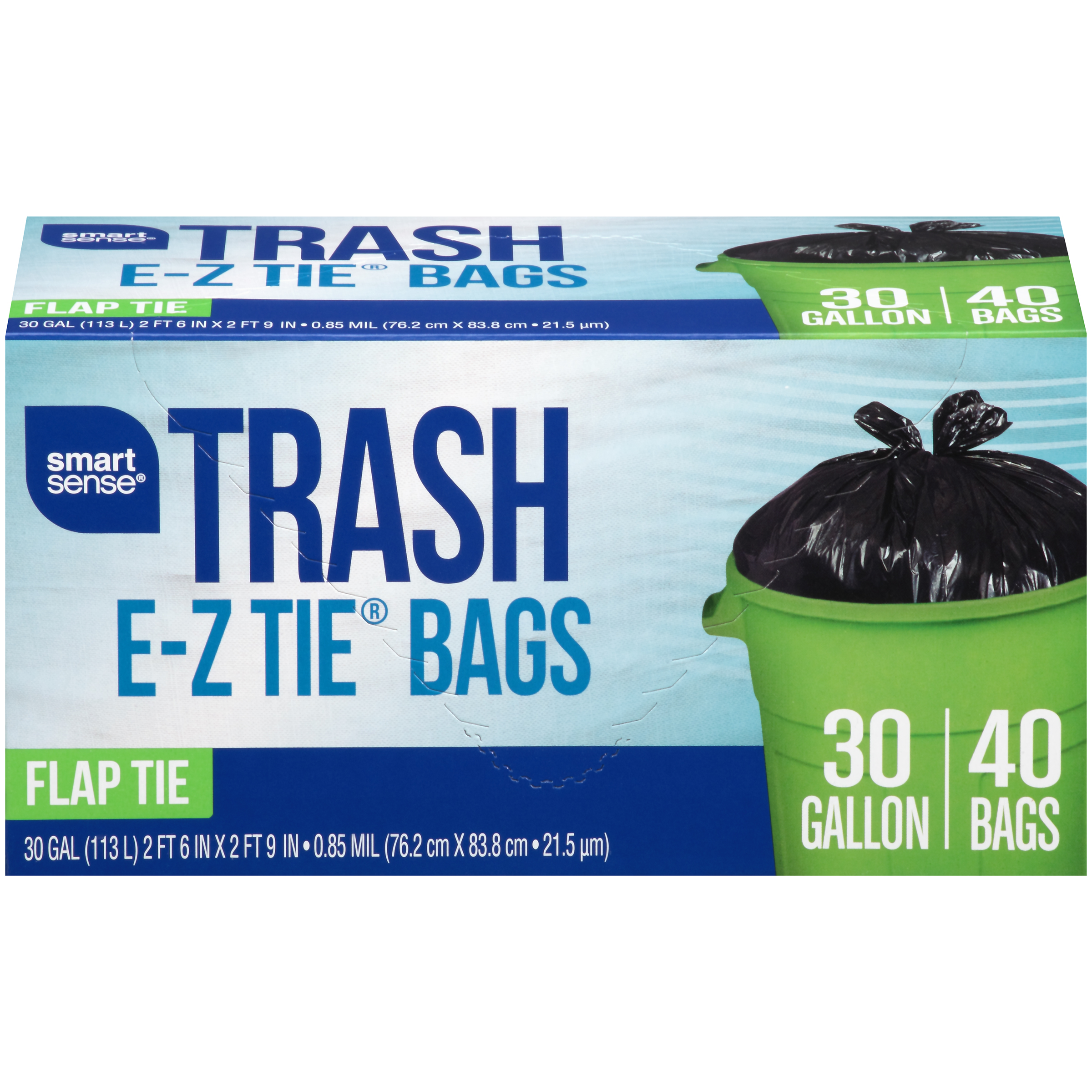 Smart Sense Trash Bag Flap Tie, 30 Gal, 40 Ct.
