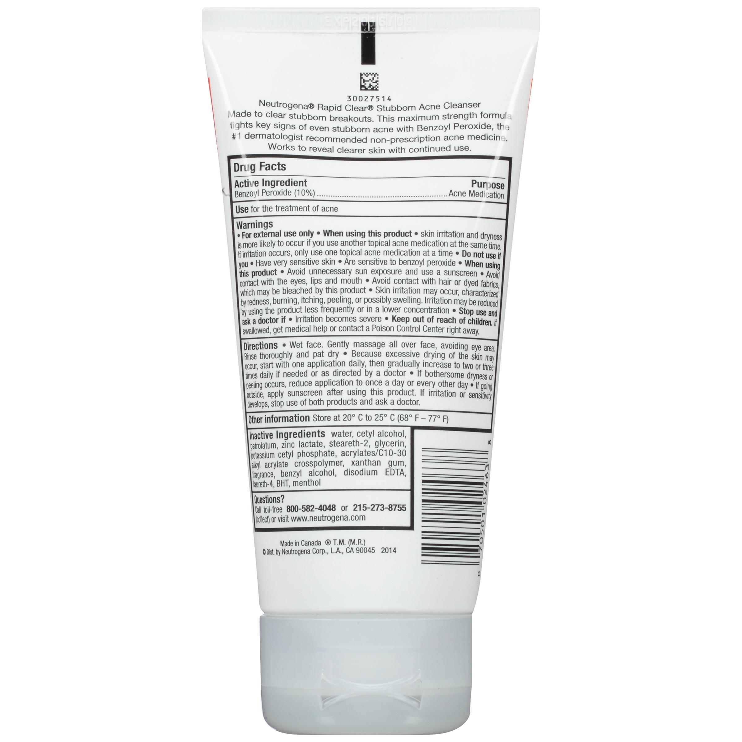 Neutrogena Stubborn Acne Cleanser Rapid Clear® 5 OZ TUBE