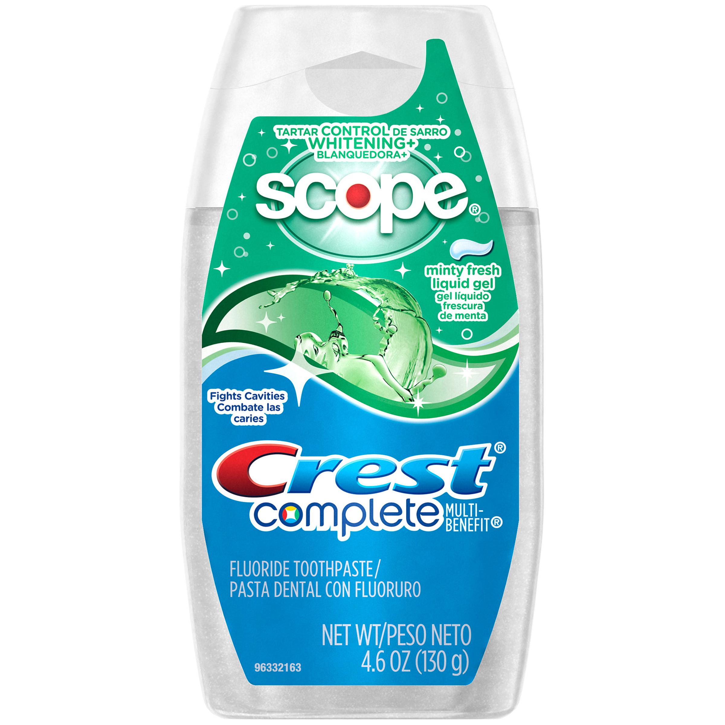 Crest Complete Multi-Benefit Toothpaste, Fluoride, Tartar Control Whitening + Scope, Minty Fresh Liquid Gel, 4.6 oz (130 g) PartNumber: 01345072000P KsnValue: 38780511
