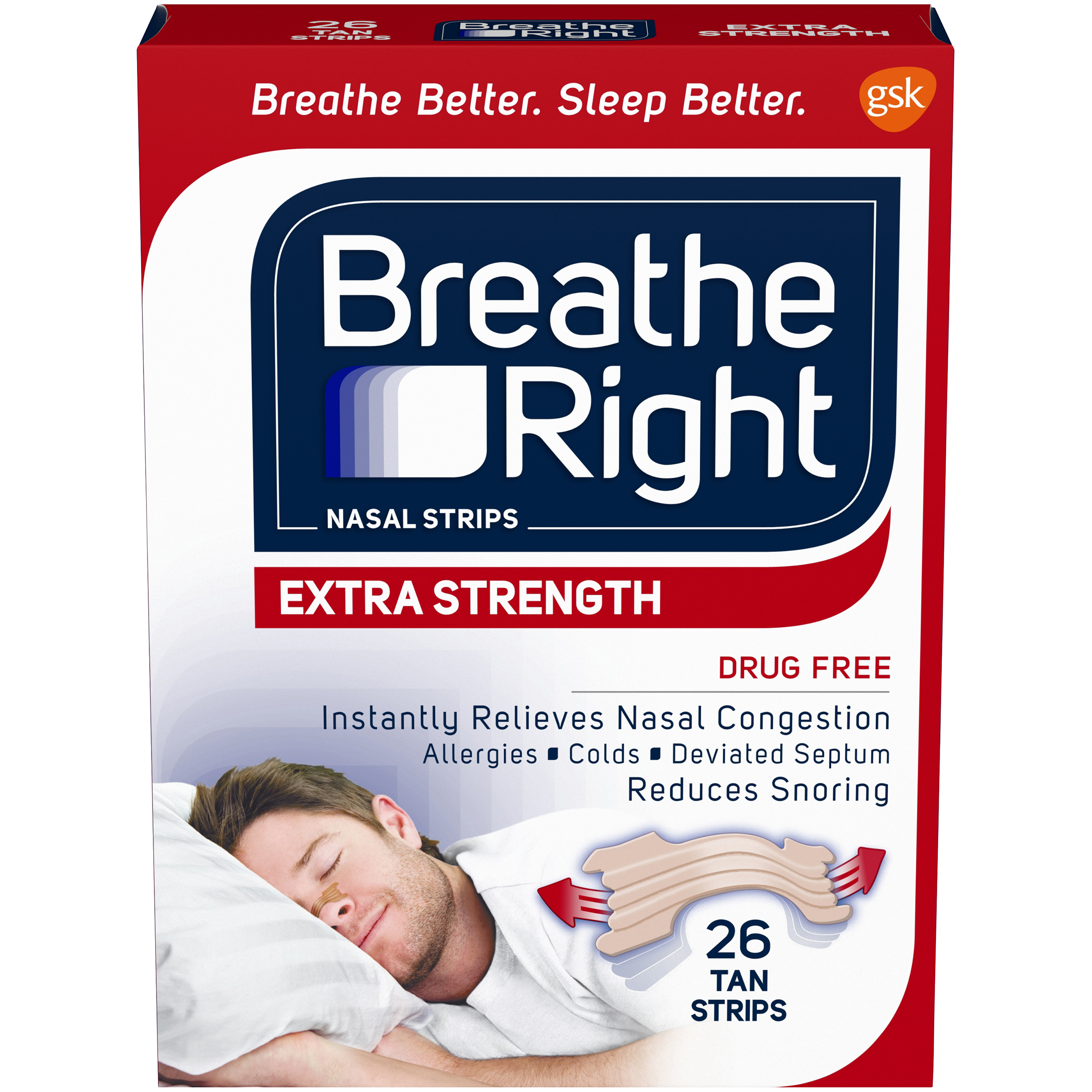 Image of BREATHE RIGHT Nasal Strips, Extra 26 strips, Size: 26 ct.