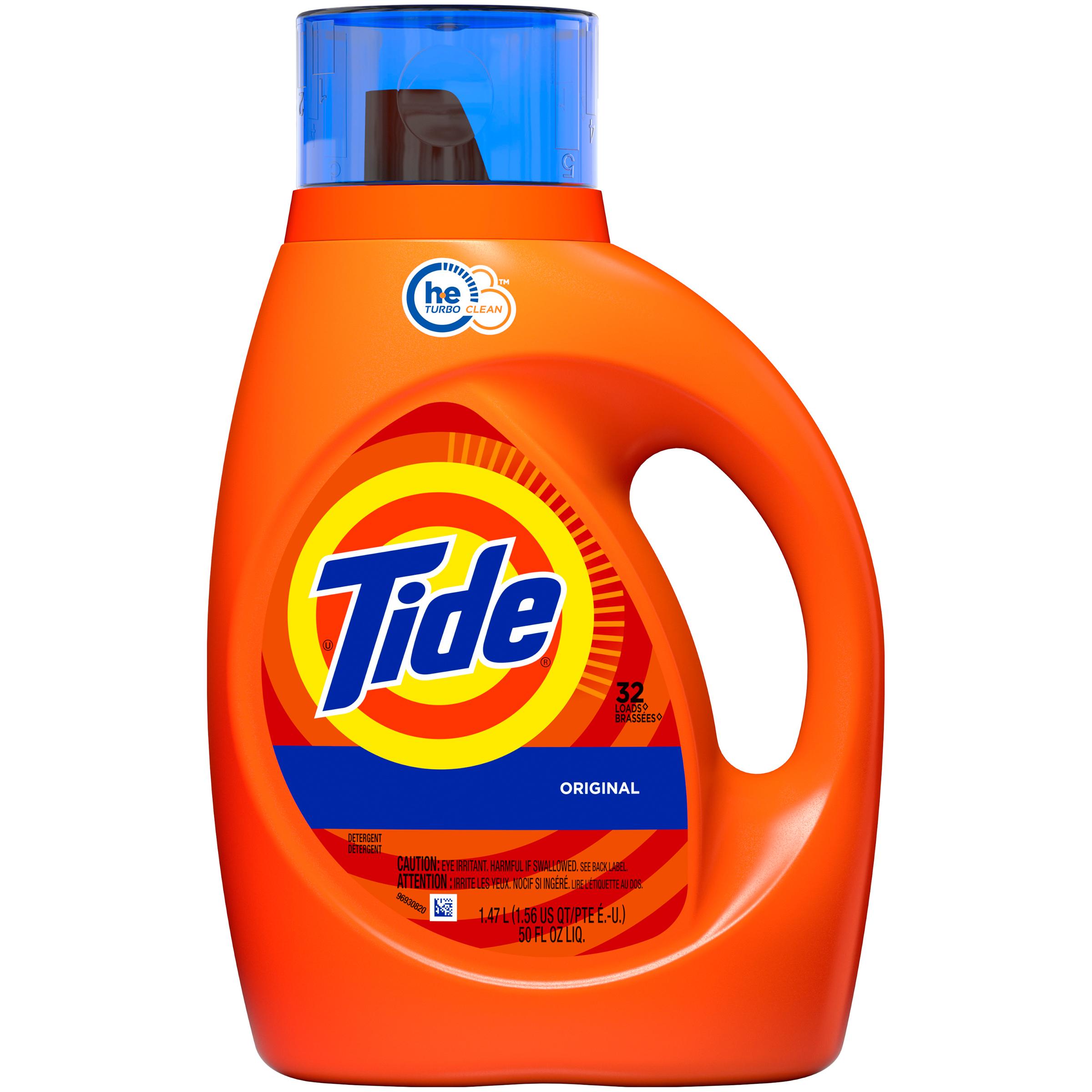 Tide HE Detergent, 2x Ultra, Original Scent , 50 fl oz (1.56 qt) 1.47 lt