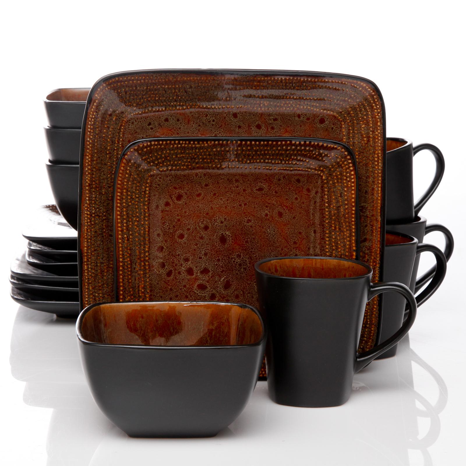 sc 1 st  Sears & Gibson Elite Elite Autumn Amber 16pc Square Dinnerware Set Black/Brown