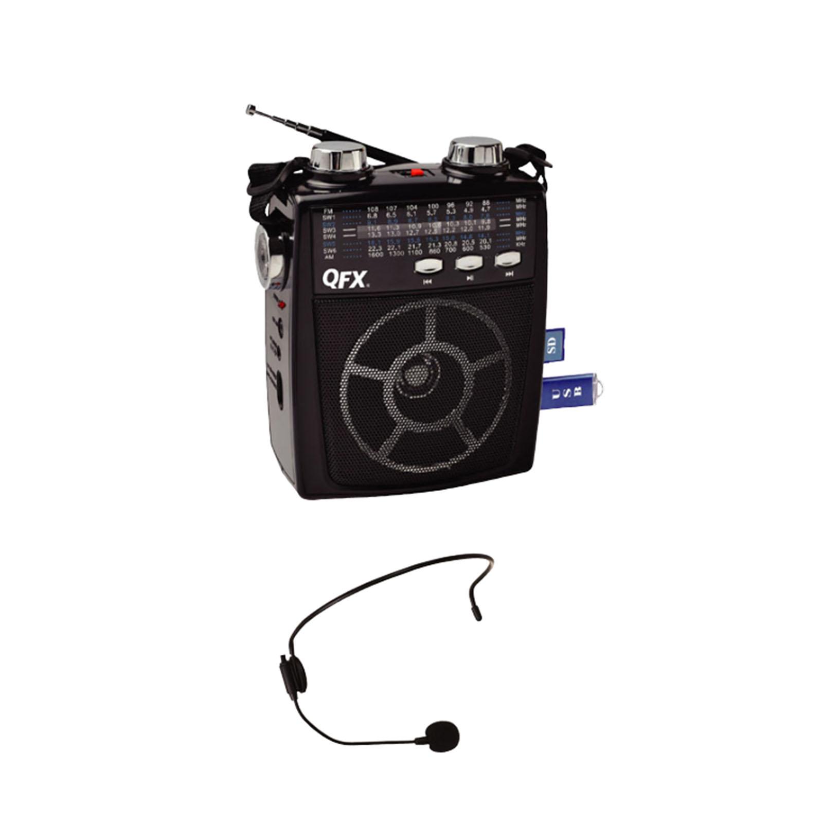 Quantum FX 97091893M QFX Portable Pa system USB/SD and AM/FM/SW1-6 Radio 8 Band Radio- Black PartNumber: 05741484000P KsnValue: 8818728 MfgPartNumber: 97091893M