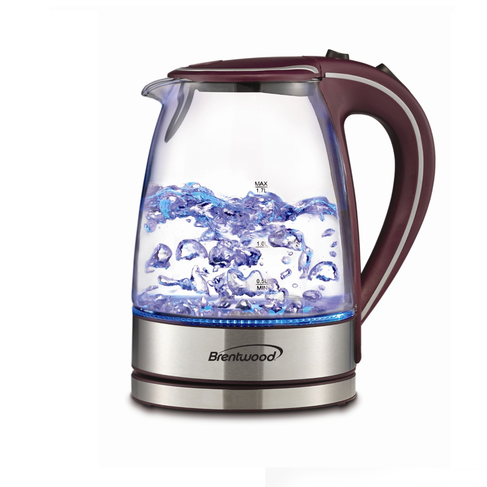 Image of Brentwood 97091209M Tempered Glass Tea Kettles, 1.7-Liter, Purple, Stainless steel