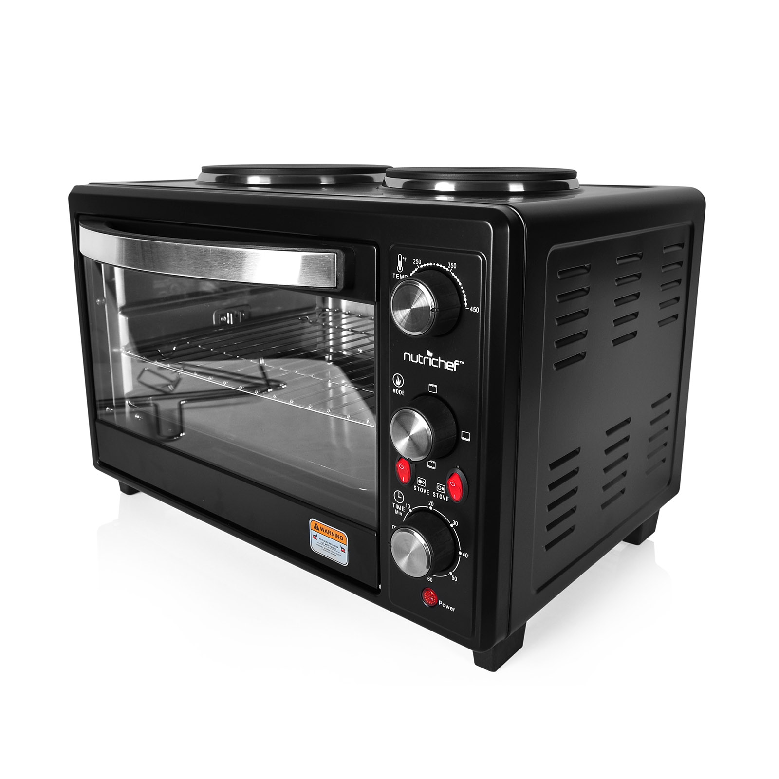 Image of NutriChef 97099431M Multifunction Kitchen Oven, Countertop Rotisserie Cooker with Dual Hot Plates, Black