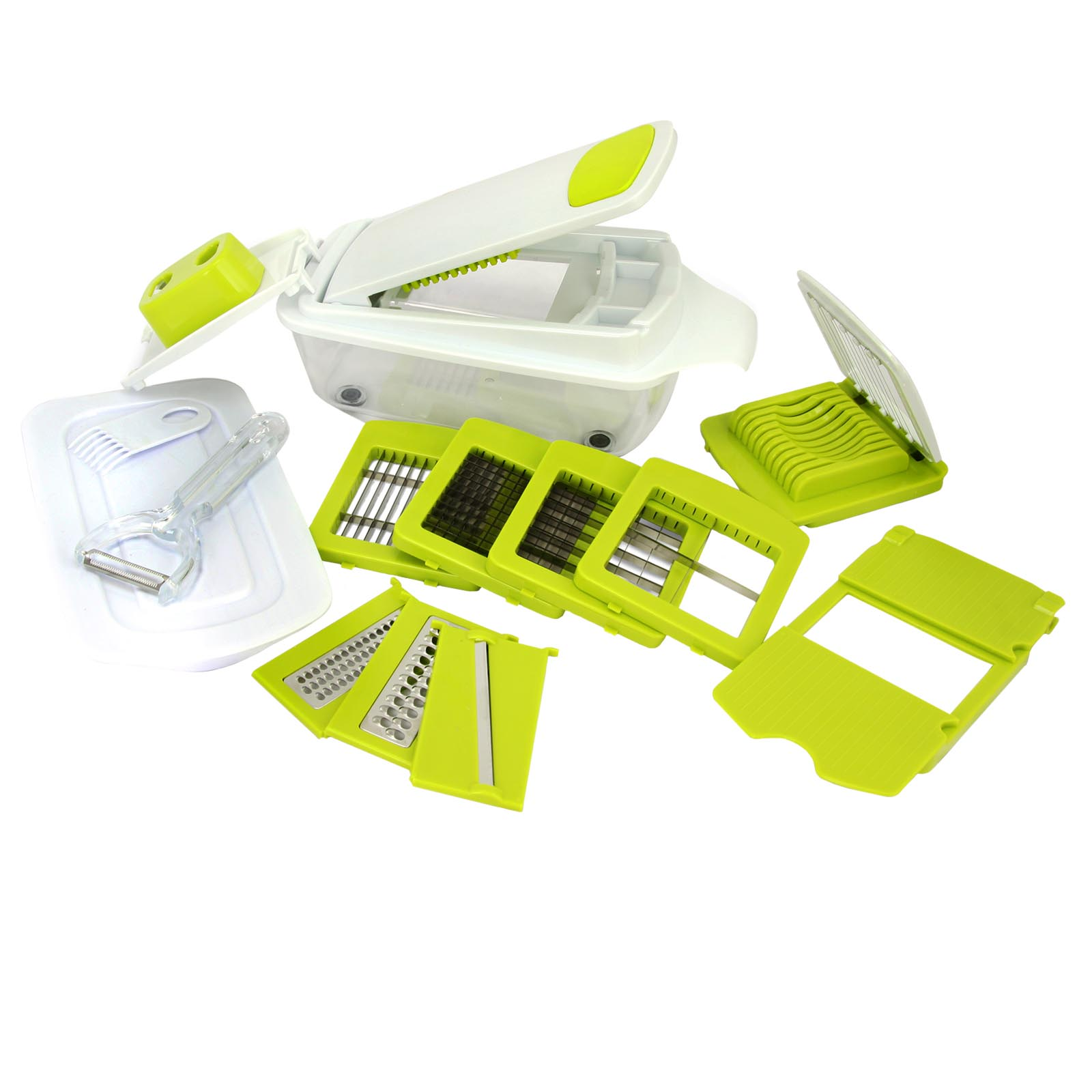 Image of MegaChef 970103072M 8-in-1 Multi-Use Slicer Dicer and Chopper with Interchangeable Blades, Vegetable and Fruit Peeler and Soft Slicer, Green