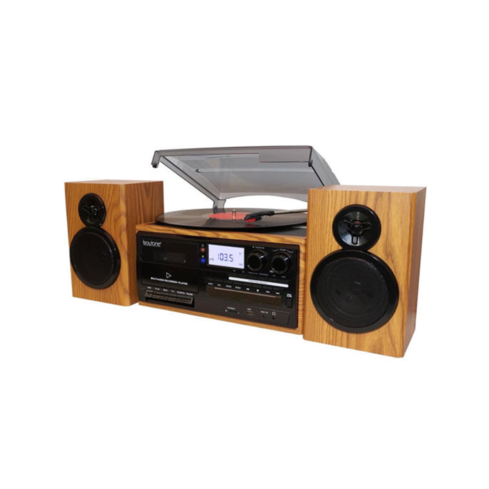 Boytone BT28SPW, Bluetooth Classic Style Record Player Turntable With AMFM  Radio, CD Cassette Player