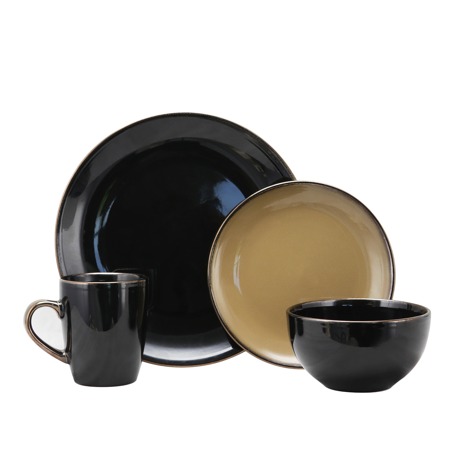 Image of Elama Cambridge Grand 16-Piece Dinnerware Set, Black/Warm Taupe