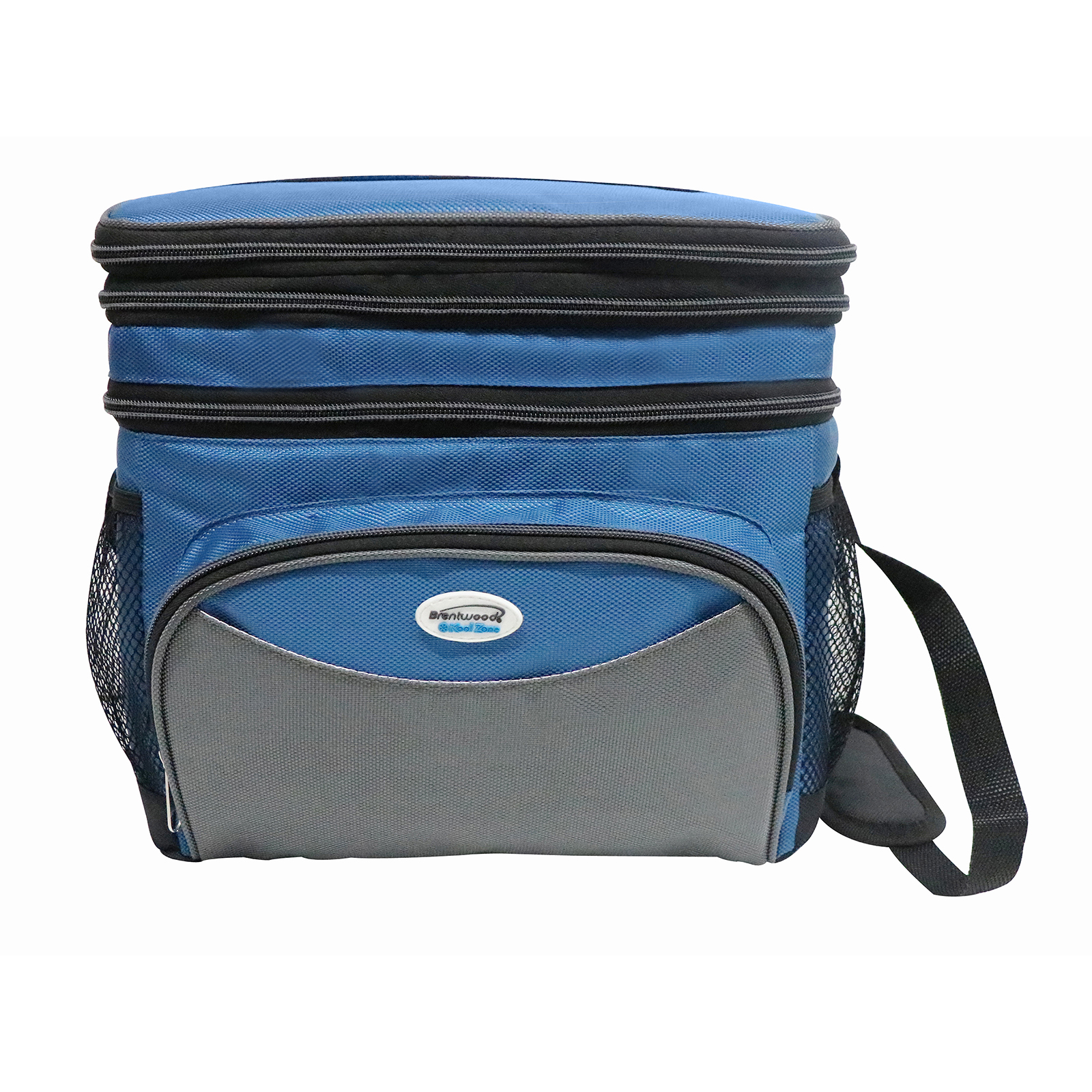 Image of Brentwood Cooler Bag 24 Can w/ Hard Plastic Ice Bucket-BLUE