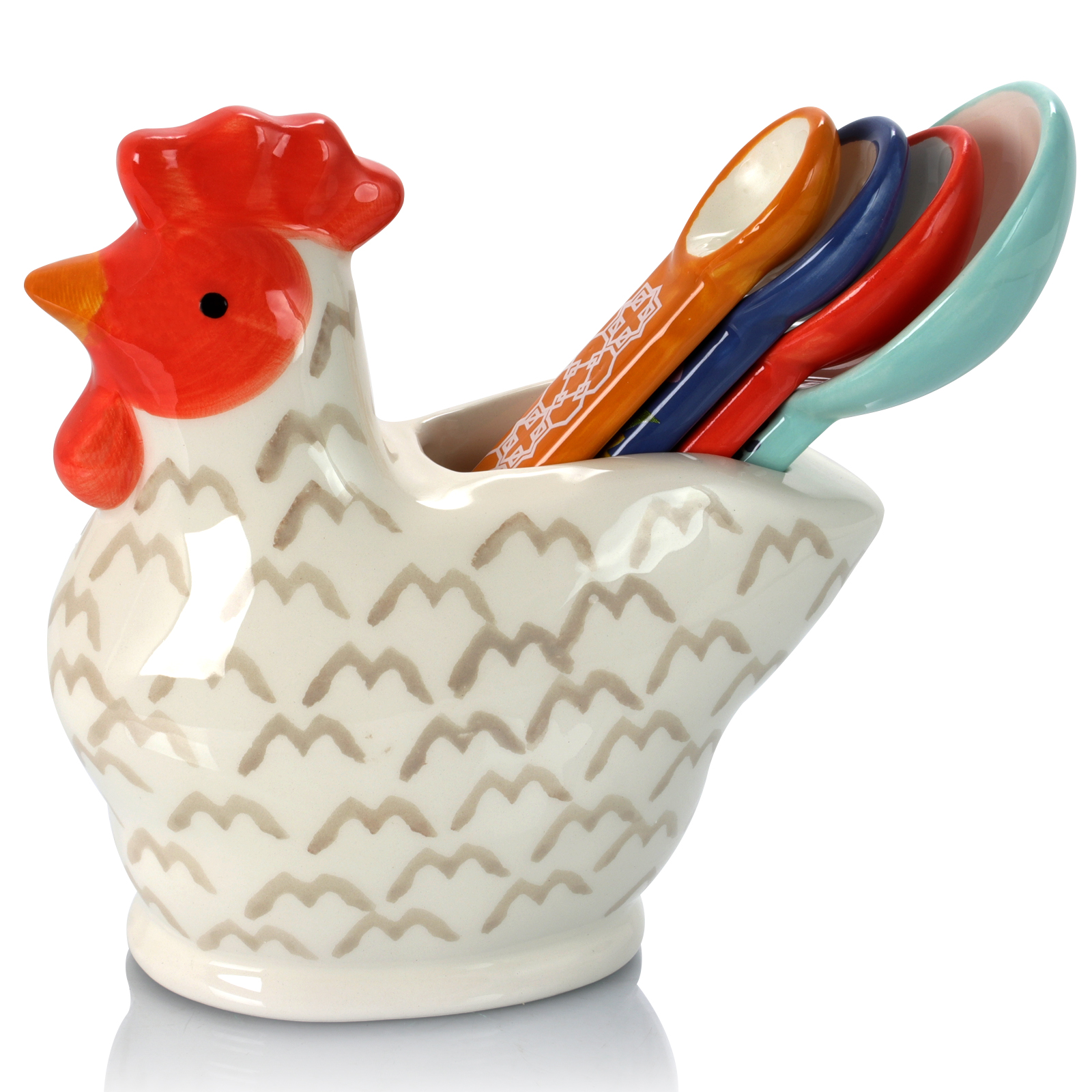 Image of Urban Market Life On The Farm 4 Piece Durastone Figural Rooster Measuring Spoon Set, Pink