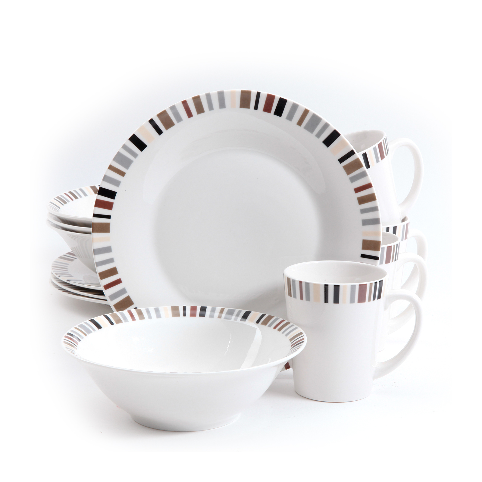 Image of Gibson 12 Piece Lanvale Fine Ceramic Dinnerware Set For 4, White